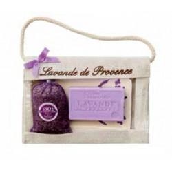 Le Chatelard obdélníková keramická mýdlenka s mýdlem Levandule 100g + pytlíček levandule 18g