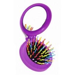 Rainbow brush kartáč na vlasy se zrcátkem Pocket fialový skládací