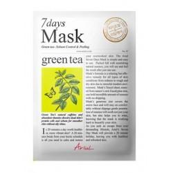 Ariul 7days mask Green tea 20g antioxidační maska na obličej Zelený čaj